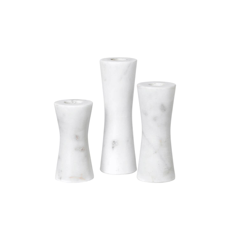 Broste Copenhagen – 3er Set Marmor Kerzenhalter SAGA – Weiß