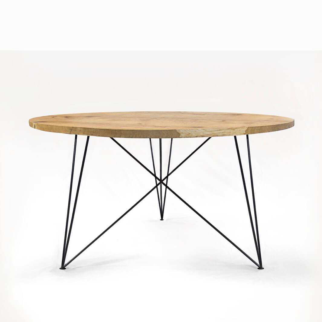 Esstisch Round Oak: Massive Eiche & Design-Stahlgestell