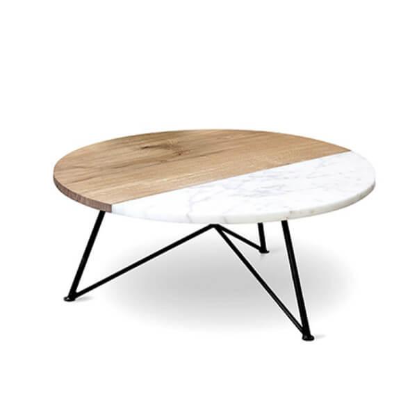 Runder Couch-Tisch – massive Eiche (Marmor) & Stahlgestell