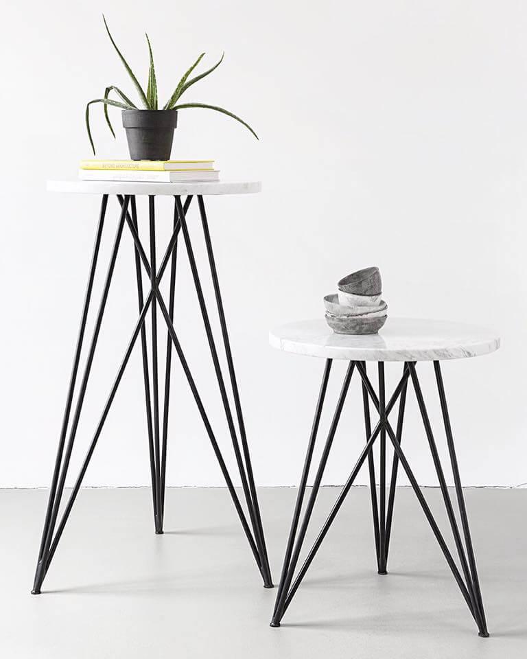 Beistelltisch Marmor runder beistelltisch eiche oder in marmor stahlgestell