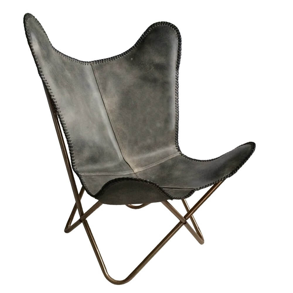 Butterfly Chair Vintage Grau