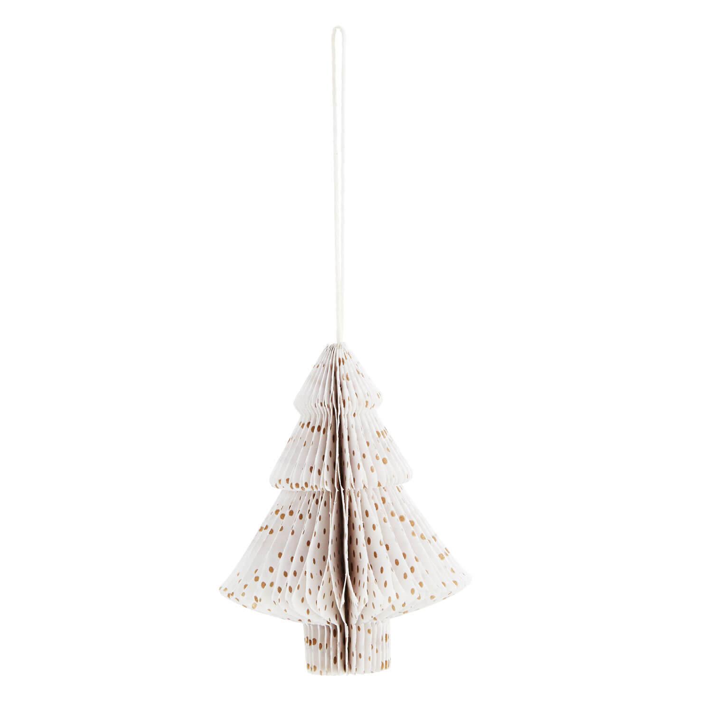 Madam Stoltz – Papier-Baum – Weiß + Goldene Punkte