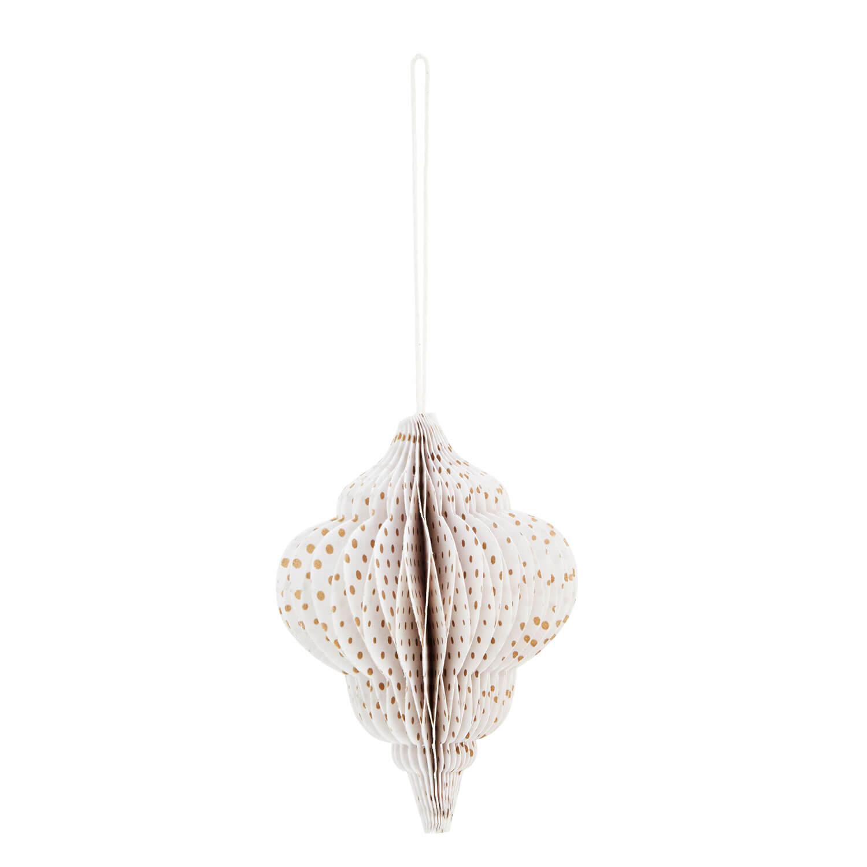 Madam Stoltz – Papier-Ornament – Weiß + Goldene Punkte