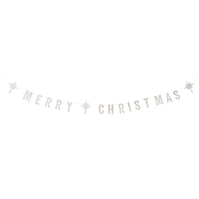 "Madam Stoltz – Papier-Girlande ""Merry Christmas"" – Weiß"
