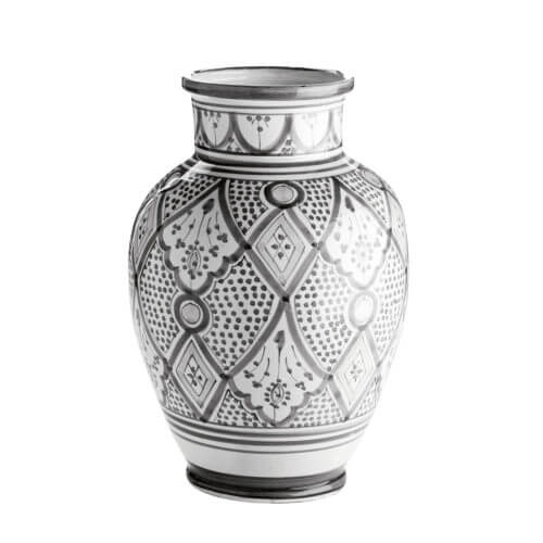 TineK Vase Marokkanisches Muster Grau-Weiß