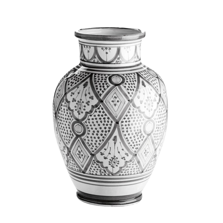 Tine K Home – Vase Marokkanisches Muster – Grau-Weiß