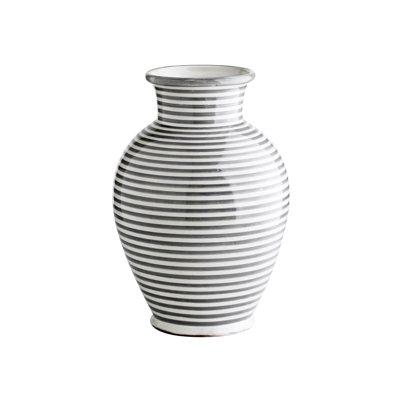 Tine K Home – Vase Streifen Muster – Grau-Weiß
