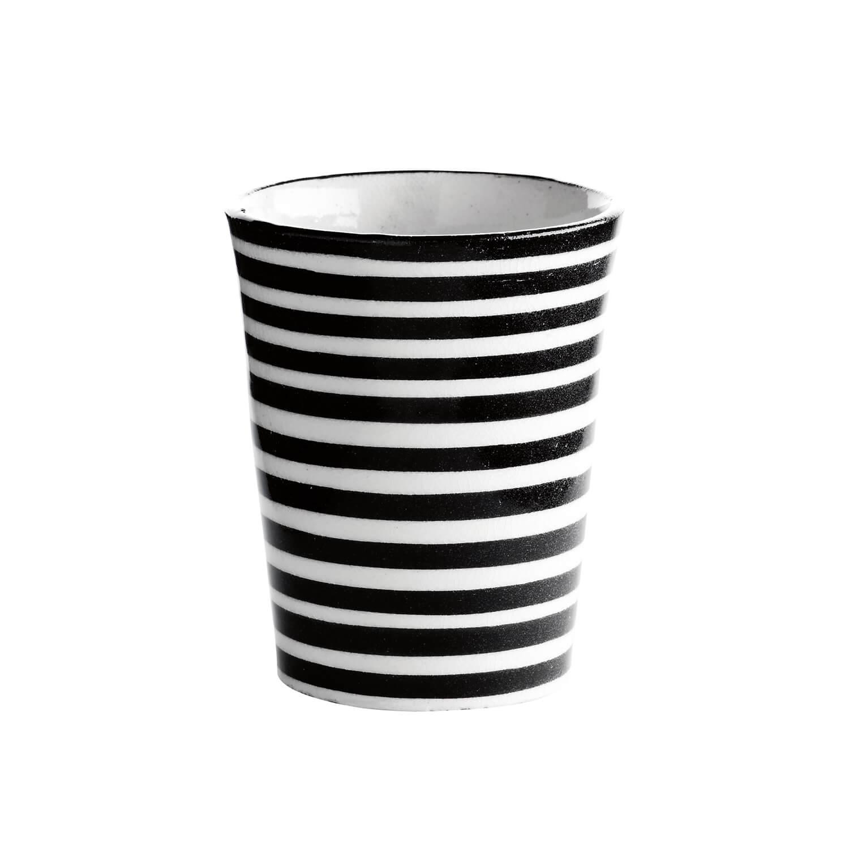 TineK Becher Streifen Schwarz-Weiß