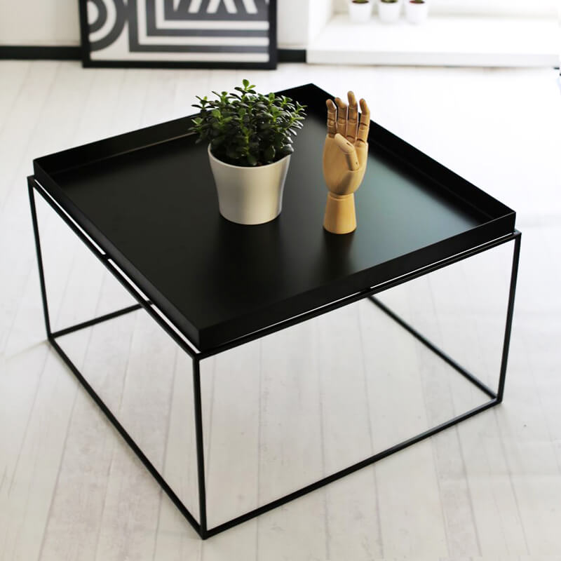 hay tray coffee table beistelltisch black quadratisch ma e 60 x 60 cm. Black Bedroom Furniture Sets. Home Design Ideas