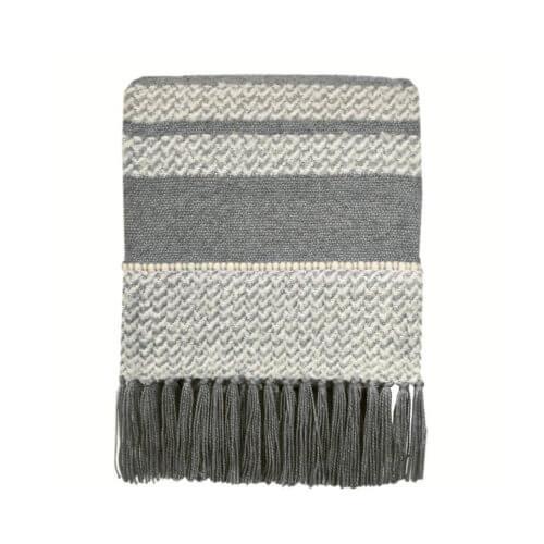 Tagesdecke – Grau-Weiß Muster mit Fransen
