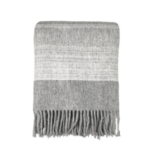 Tagesdecke – Grau-Weiß mit Fransen 100% Wolle