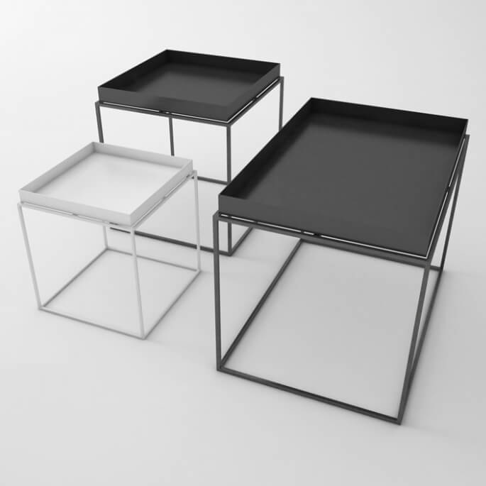 hay tray table beistelltisch white quadratisch. Black Bedroom Furniture Sets. Home Design Ideas