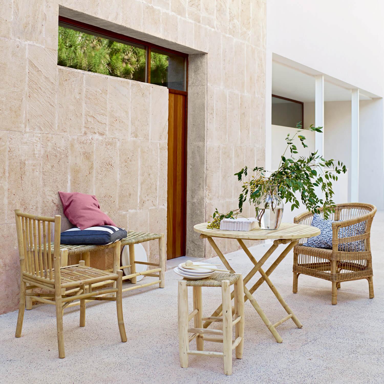 tine k home hocker aus holz palmenbl tter 30 x 30 x h50 cm. Black Bedroom Furniture Sets. Home Design Ideas