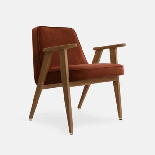 366-Armchair-W03-Velvet-Red-Brick