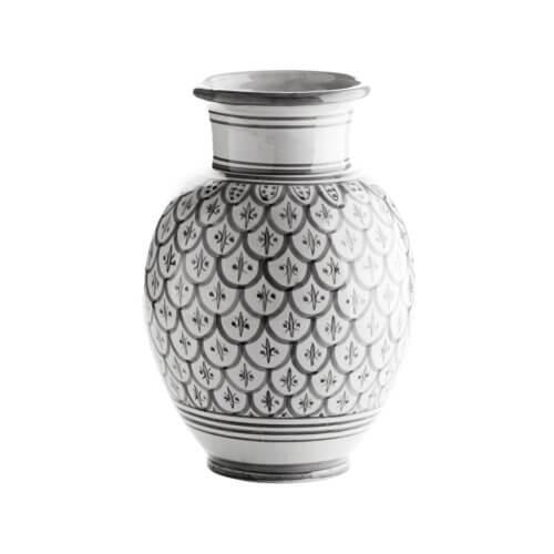 TineK Vase Peacook Grau-Weiß