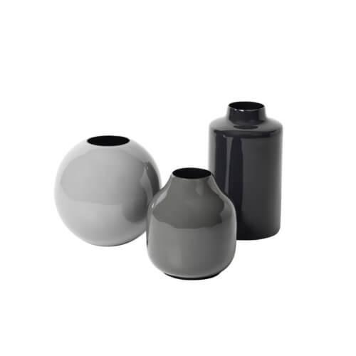 Broste Copenhagen – 3er Set Vasen LINDI – Grau