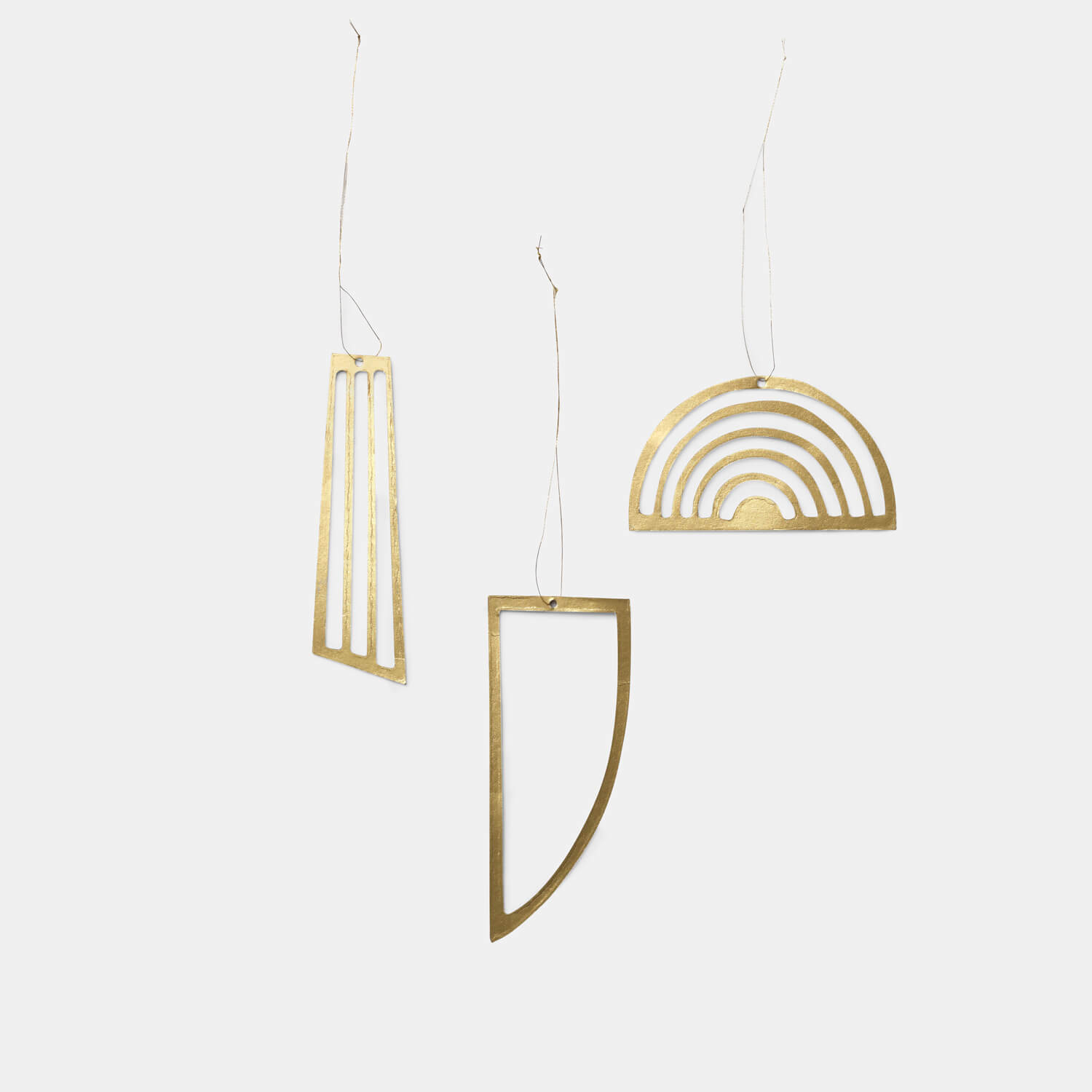 Ferm LIVING – 3er Set Christbaumschmuck Ornamente – Messing