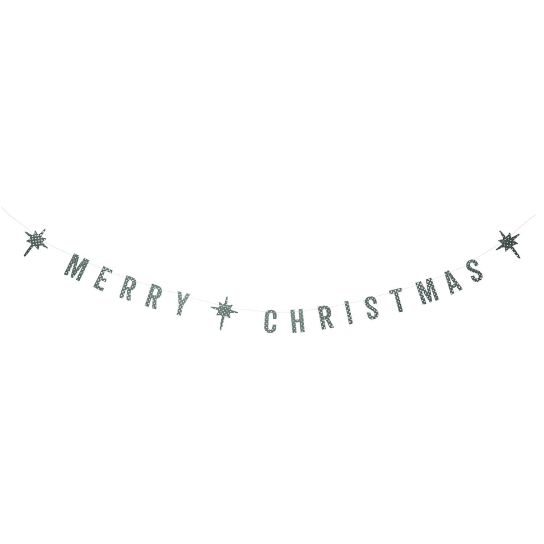 Madam Stoltz – Papiergirlande Merry Christmas – Grau // Armeegrün – L 100cm