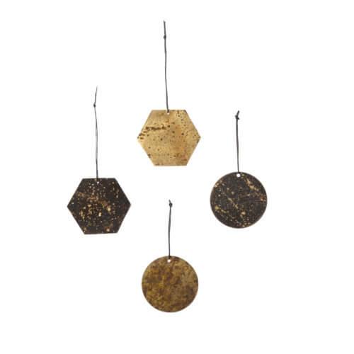 Ferm LIVING – 4er Set Christbaumschmuck Ornamente – Patina