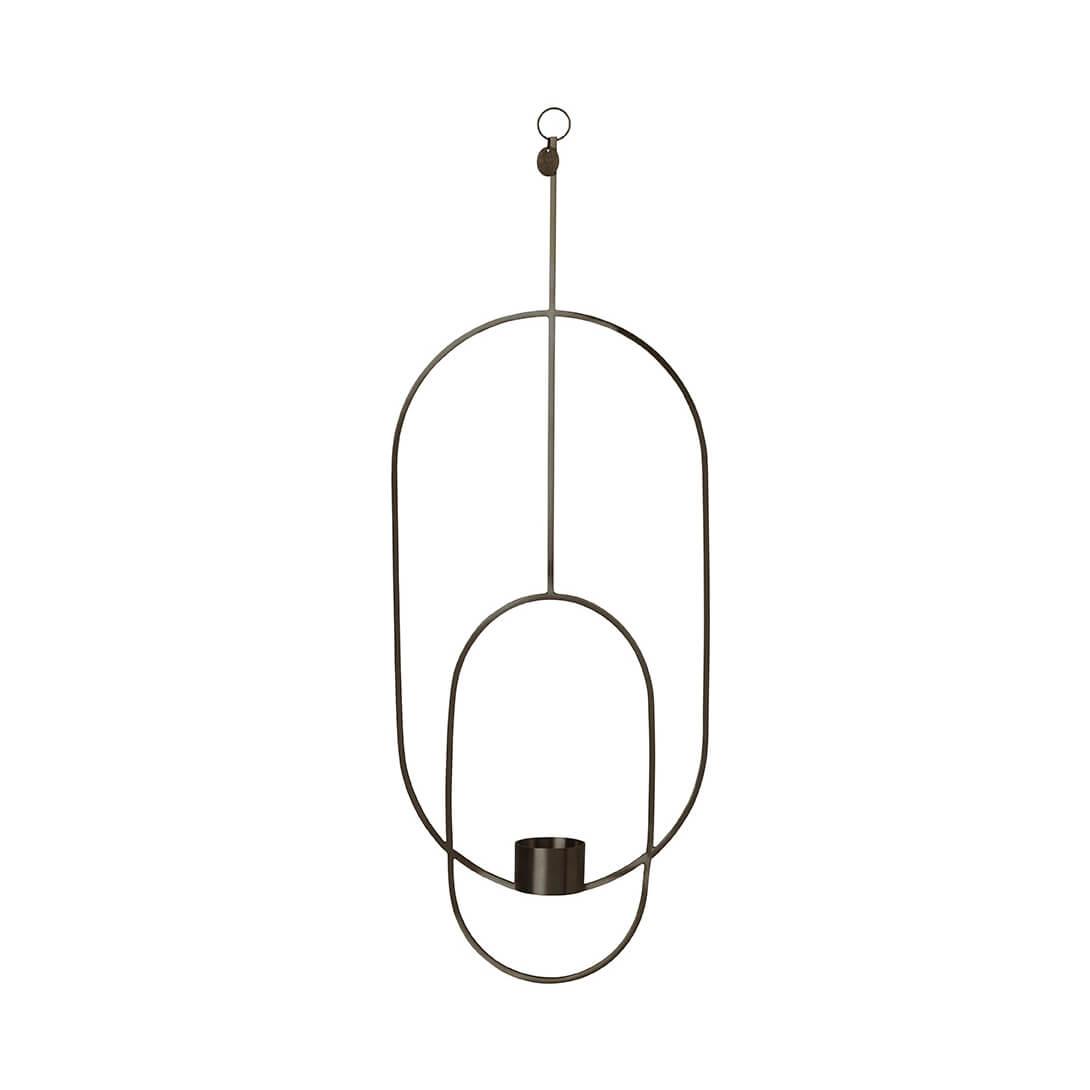 Ferm LIVING – Teelichthalter Oval – Messing Schwarz