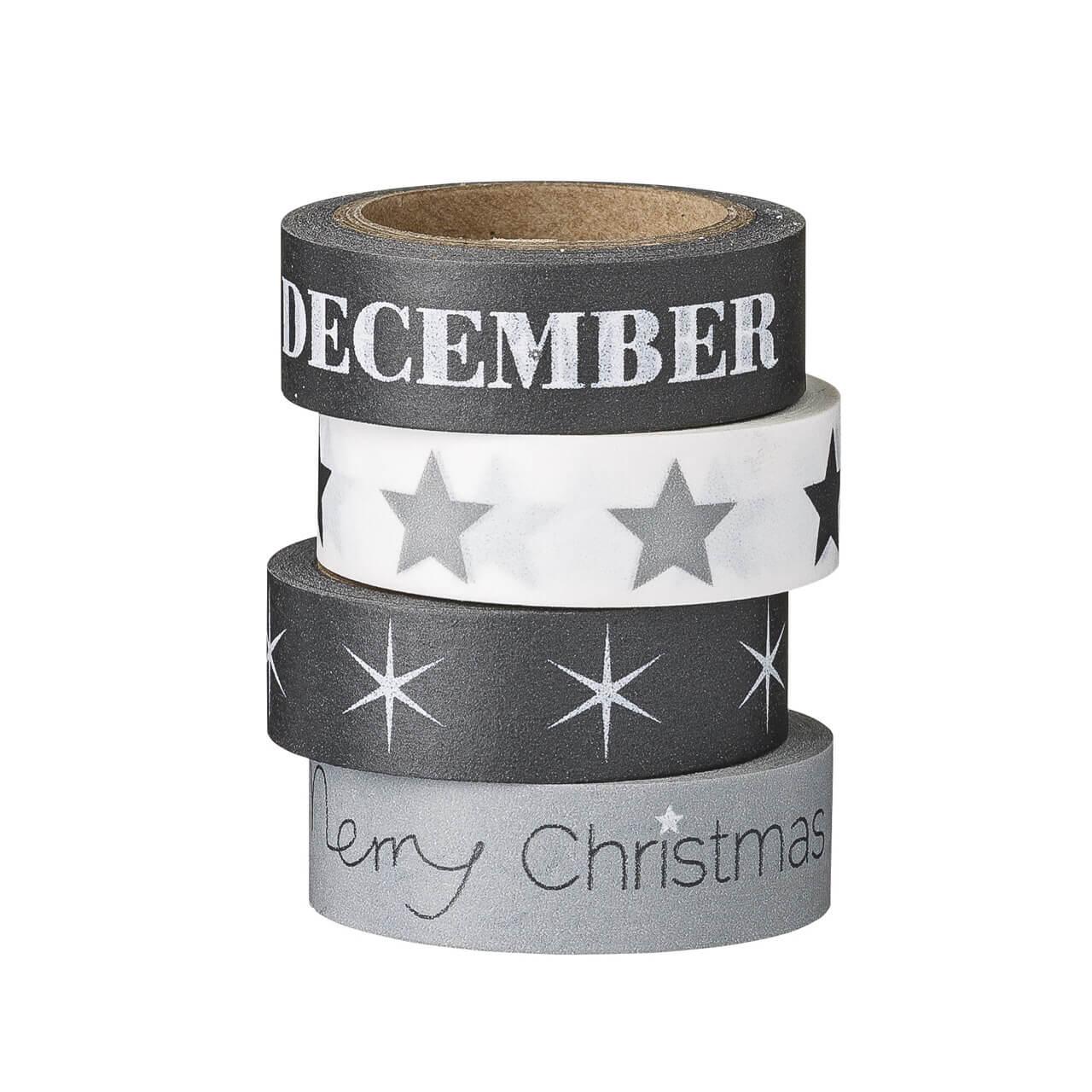 Bloomingville – 4er Set Masking-Tape Weihnachten – Schwarz-Weiß
