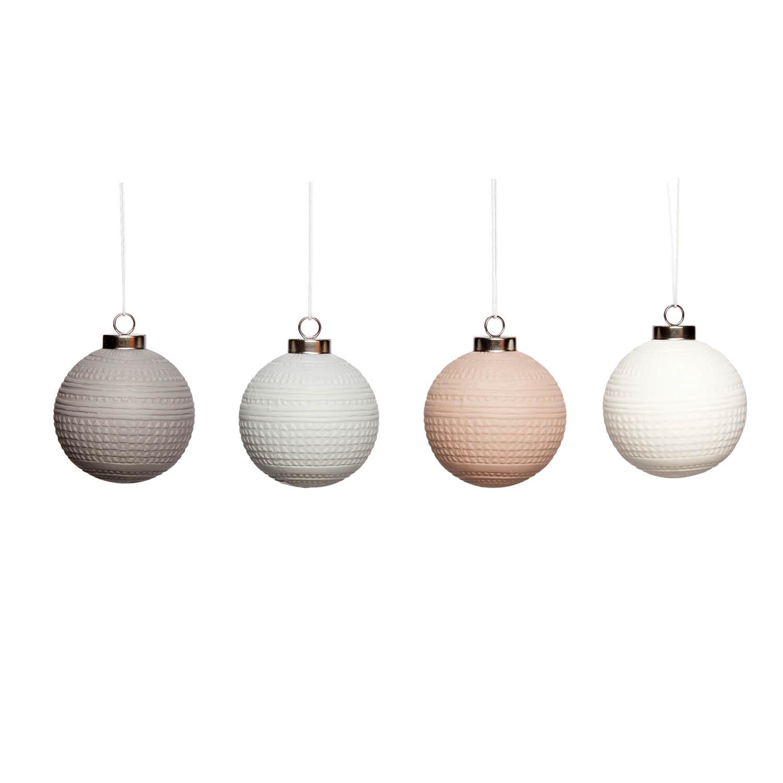 Hübsch Interior – 4er Set Weihnachtskugeln – Porzellan – Ø 6 cm