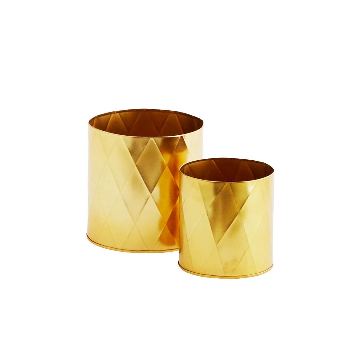 Madam Stoltz – 2er Set Pott – Metall Gold