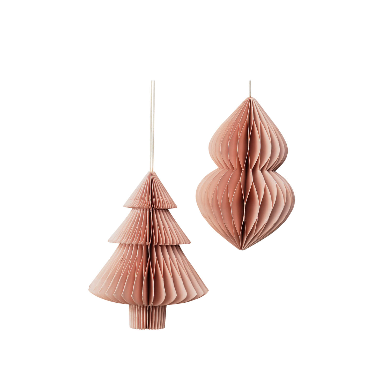 Broste Papier-Weihnachtsschmuck Rosé 2er-Set