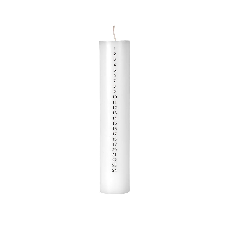 Broste Copenhagen – Adventskerze – Weiß mit Schwarzdruck
