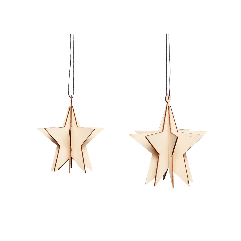 Hübsch Interior – 2er Set Sterne aus Holz
