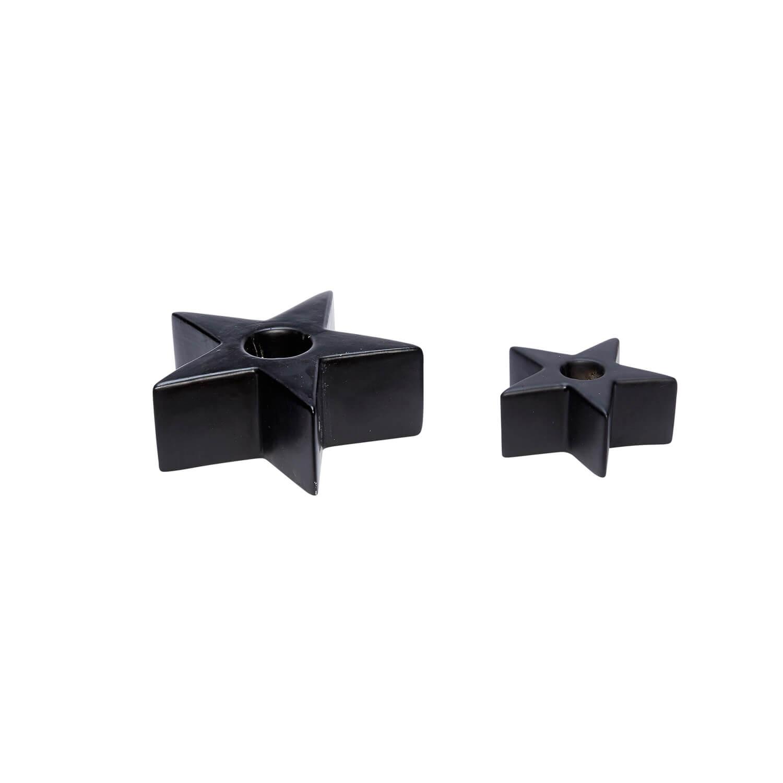 Hübsch Interior – 2er Set Kerzenhalter Stern – Porzellan – Schwarz