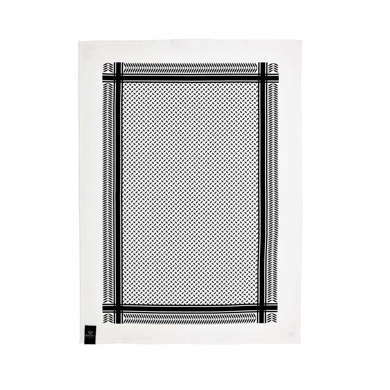 Kiss my Kitchen – Geschirrtuch – Muster Schwarz-Weiß