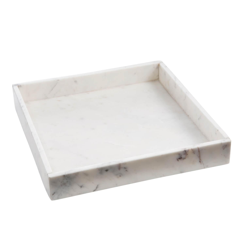 Madam Stoltz – Tablett Marmor – Weiß –L