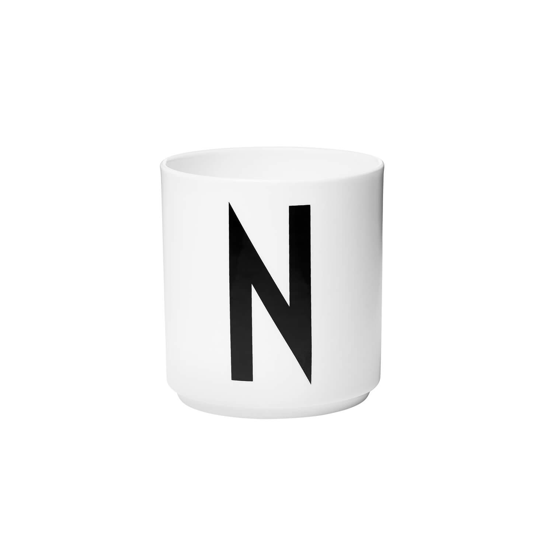 design letters porzellan becher n wei ca 8 x h 9 cm. Black Bedroom Furniture Sets. Home Design Ideas