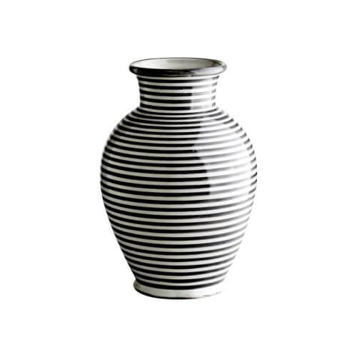 Tine K Home – Vase Streifen Muster – Schwarz-Weiß