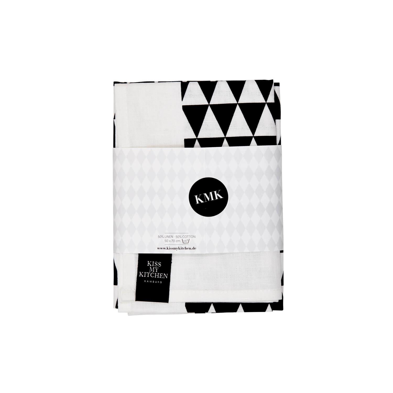 Kiss my Kitchen – Geschirrtuch – Dreieck Weiß-Schwarz
