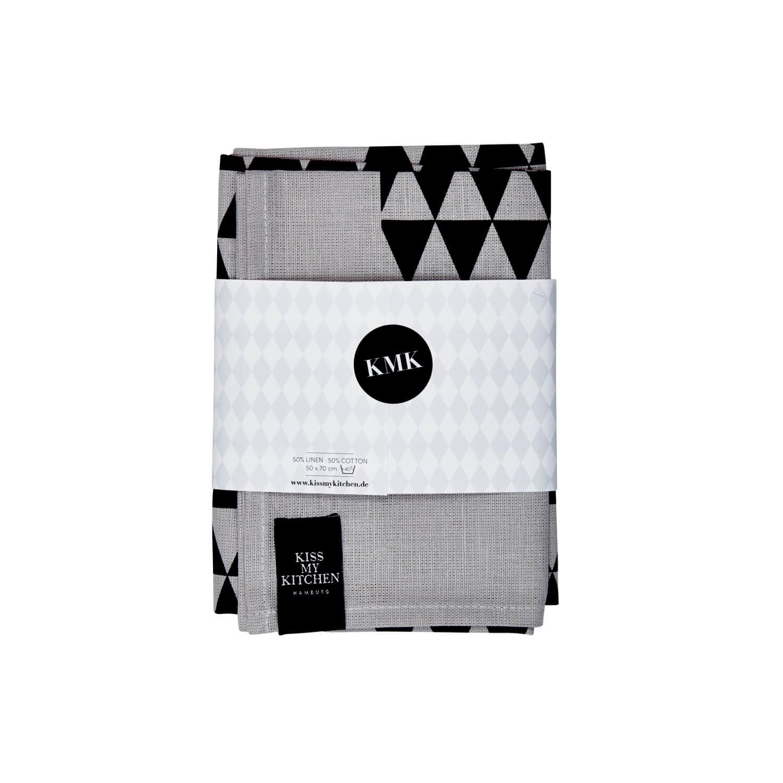 Kiss my Kitchen – Geschirrtuch – Dreieck Grau-Schwarz