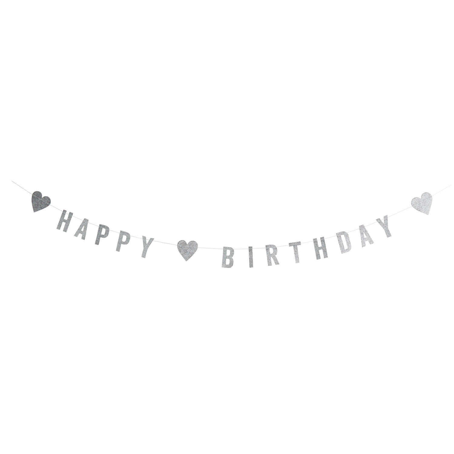 Madam Stoltz – Papiergirlande Happy Birthday – Silber
