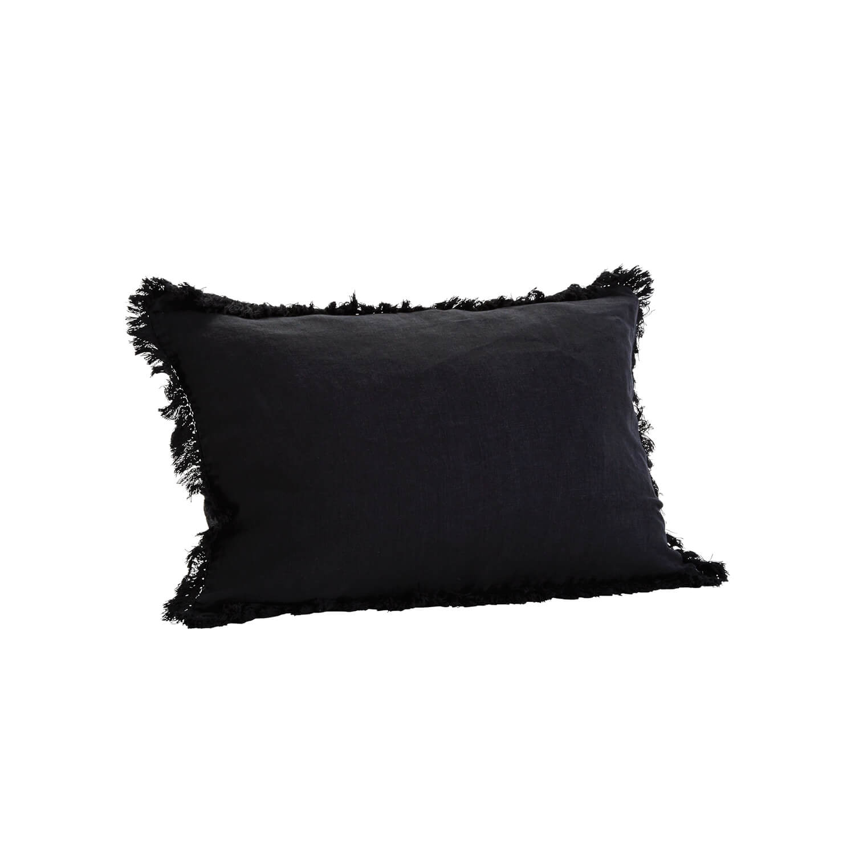 madam stoltz kissenbezug mit franzen schwarz ca 40 x 60 cm. Black Bedroom Furniture Sets. Home Design Ideas