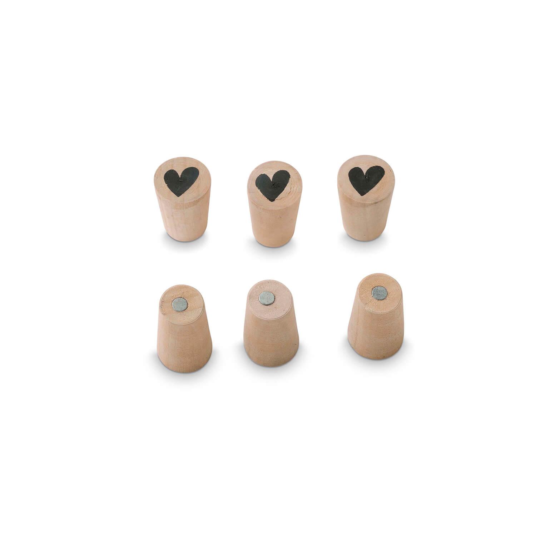 vtwonen – 6er Set Magnete Herz –Holz