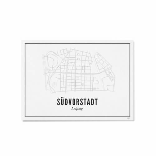Stadtplan Leipzig Südvorstadt Karte oder Poster