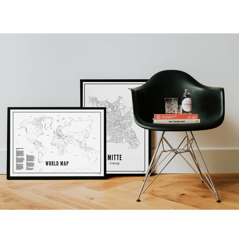 print stadtplan leipzig karte oder poster schwarz wei druck. Black Bedroom Furniture Sets. Home Design Ideas