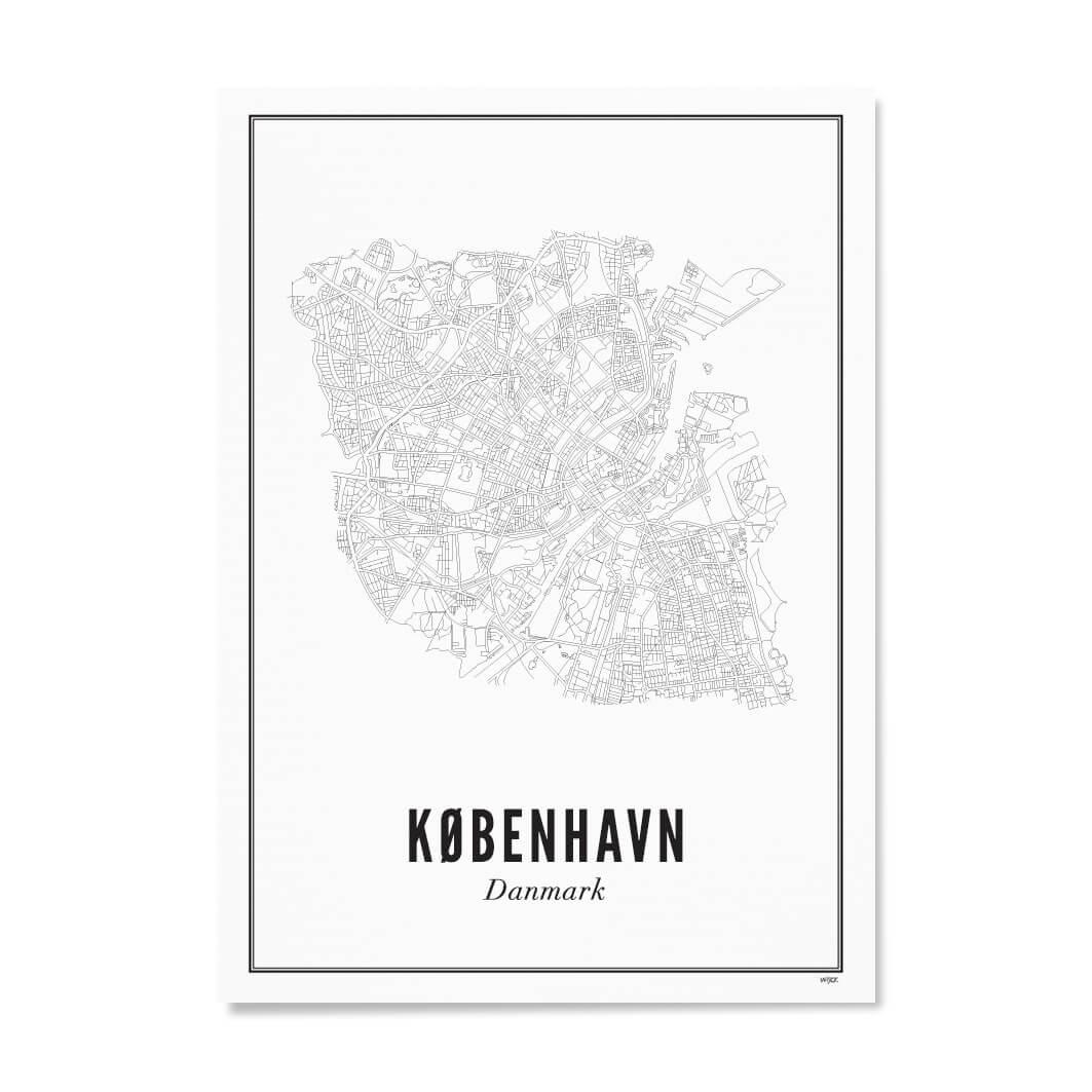 Print Stadtplan Kopenhagen Karte Oder Poster Schwarz Weiss Druck