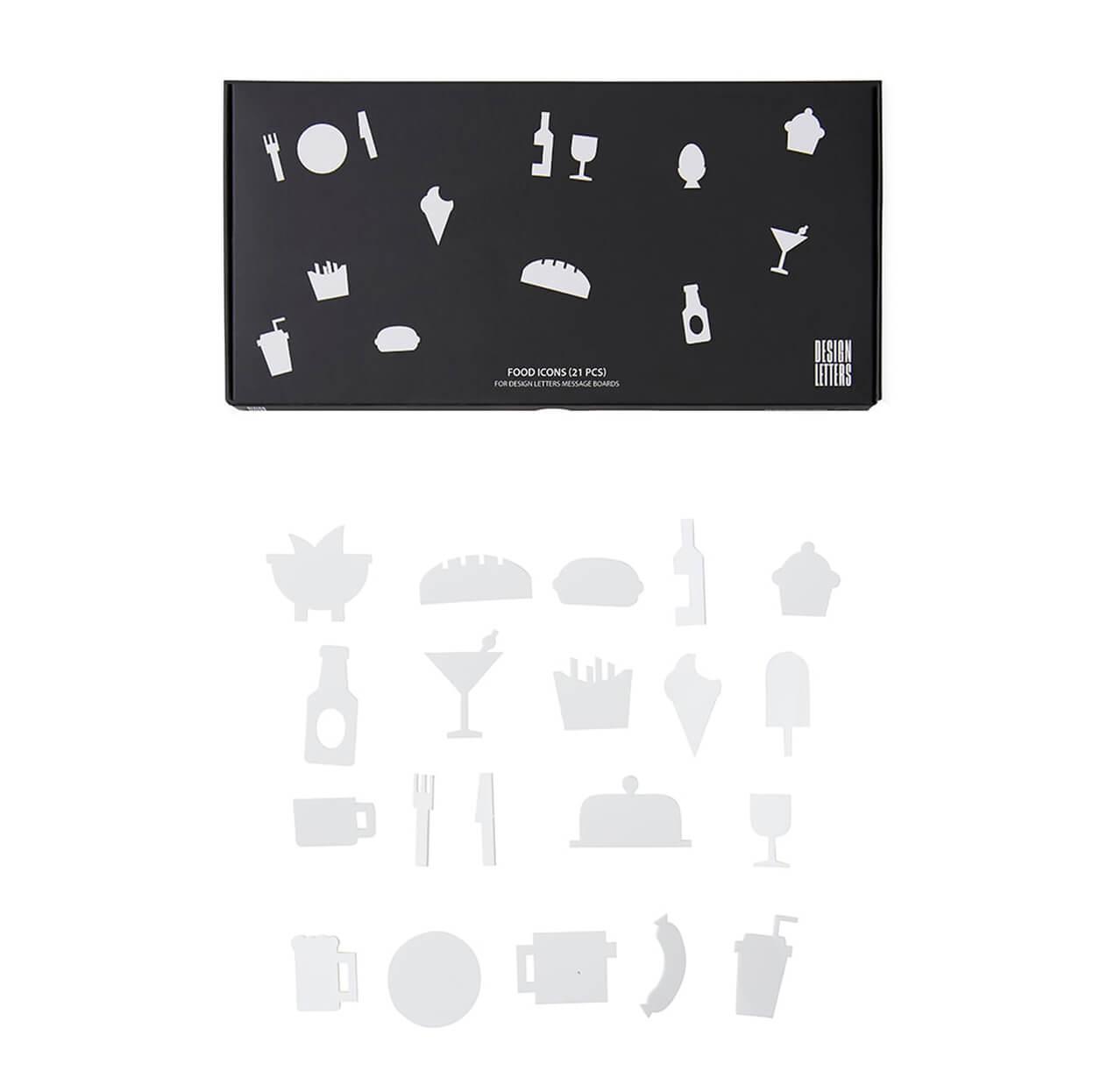Design Letters – Food Icons Set für Message Board – Weiß