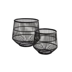 Madam Stoltz – 2er Set Körbe aus Bambus – Schwarz