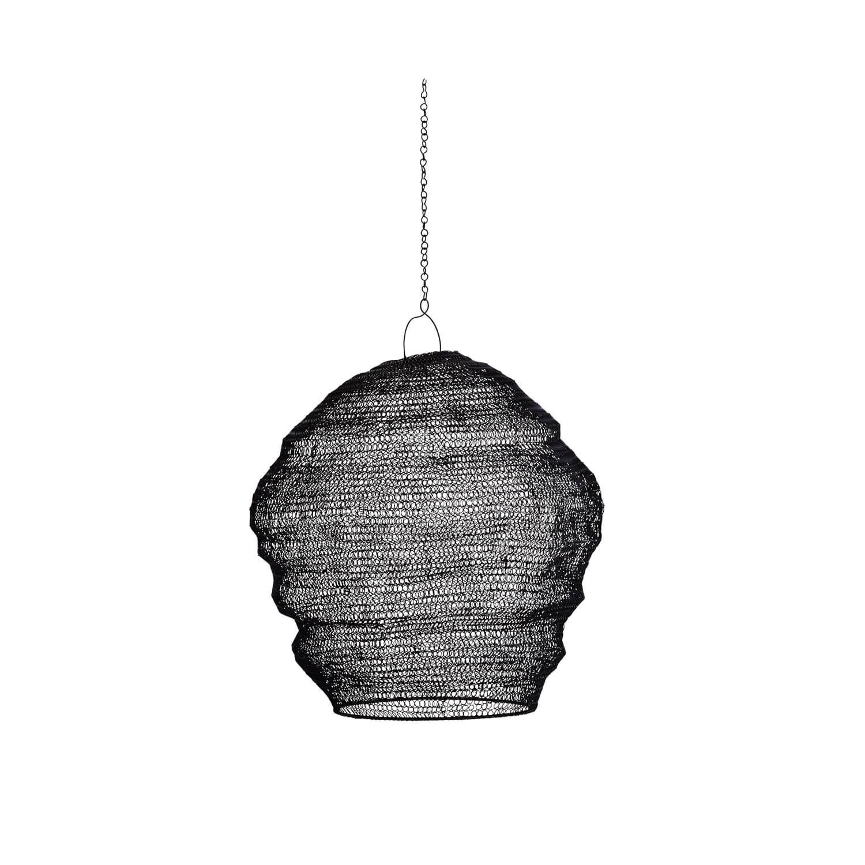 madam stoltz lampenschirm aus draht schwarz ma e d 41 x 33cm. Black Bedroom Furniture Sets. Home Design Ideas