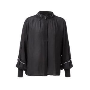YAYA – Lockere Bluse mit Kontrastnähten –Schwarz