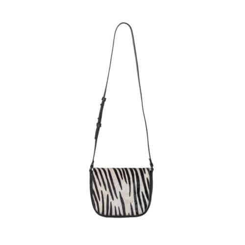 YAYA – Umhänge-Ledertasche mit Zebra-Print – Schwarz