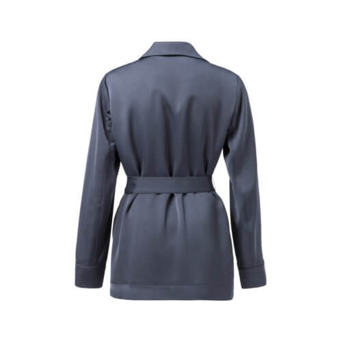 YAYA – Satin-Blazer mit Gürtel – Anthrazitblau