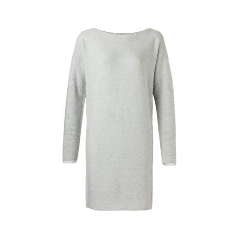 YAYA – Basic Strick-Kleid aus Baumwolle – Hellgrau melliert